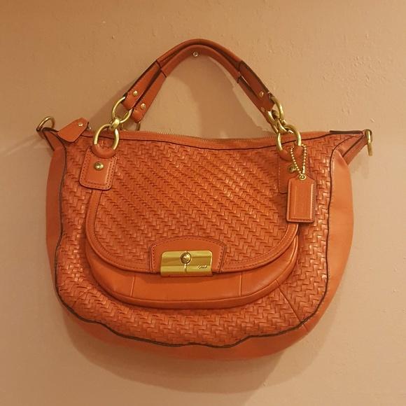9d74045199e8 Coach Handbags - Coach Orange B1320-F23048 Kristin woven bag